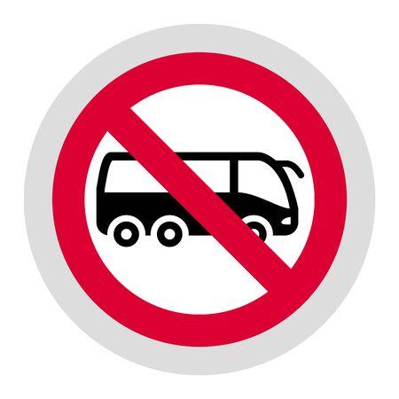 No tourist bus forbidden sign, modern round sticker, vector illustration for your design