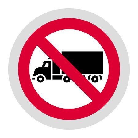 Ningún camión o ninguna señal de estacionamiento prohibido, etiqueta redonda moderna, ilustración vectorial para su diseño
