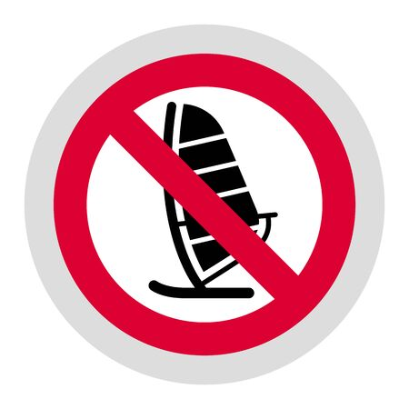 No sailing forbidden sign, modern round sticker, vector illustration for your design