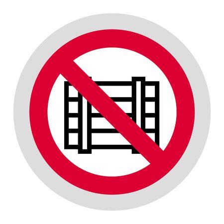 Do not obstruct forbidden sign, modern round sticker