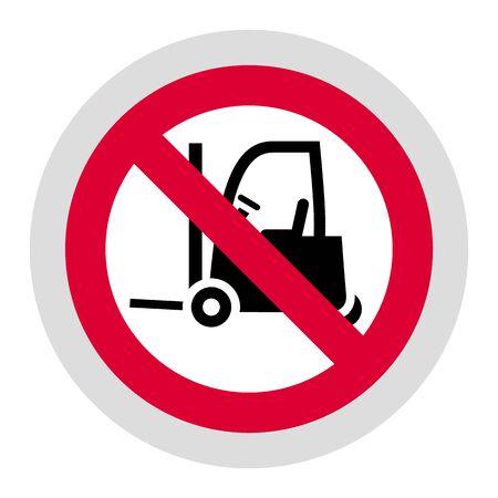 No loader forbidden sign, modern round sticker, vector illustration for your design