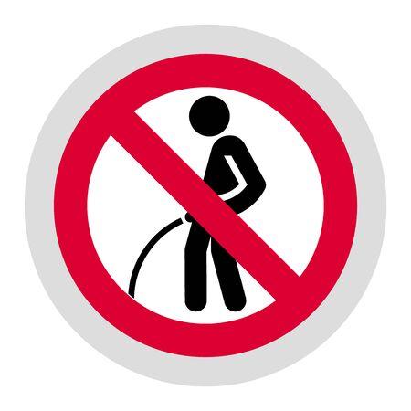 No peeing on the floor forbidden sign, modern round sticker
