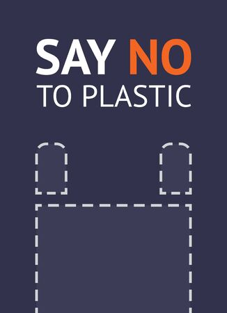 Say no to plastic bag, trendy ecological posters set for print