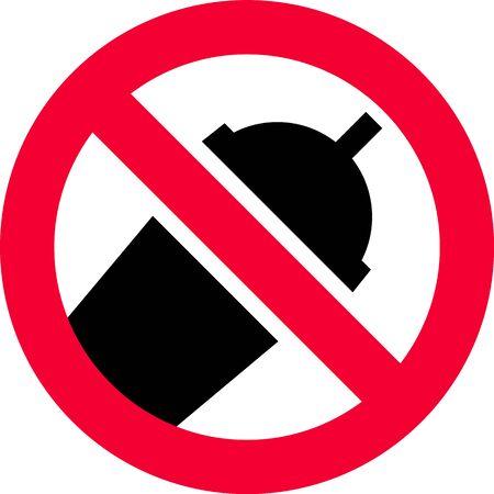 No plastic cup forbidden sign, modern round sticker