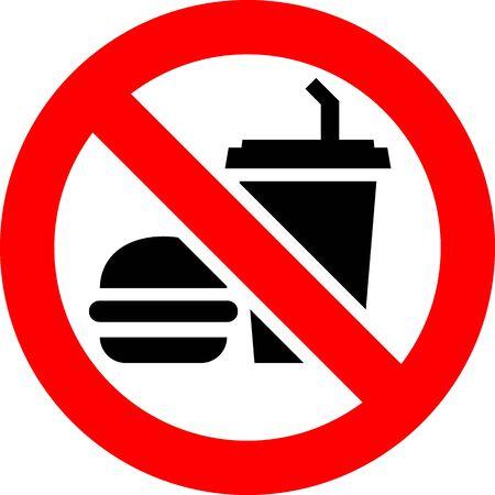 No food and drink forbidden sign, modern round sticker