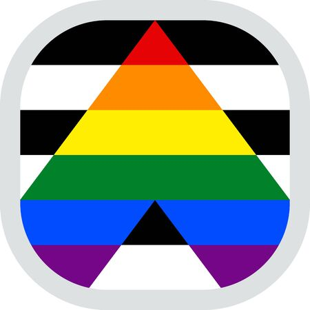 Straight Ally Flag, rounded square shape icon on white background, vector illustration