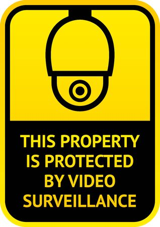 Notice Video Surveillance symbol, sticker. Vector illustration for print.
