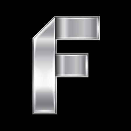 New font folded from a silver metallic ribbon. Trendy roman alphabet, gray vector letter F on a black background
