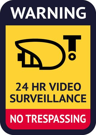 Label video surveillance symbol, ready for print.
