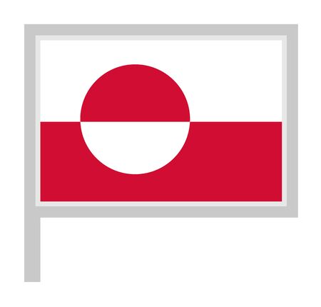 Greenland flag on flagpole, rectangular shape icon on white background, vector illustration. Vectores