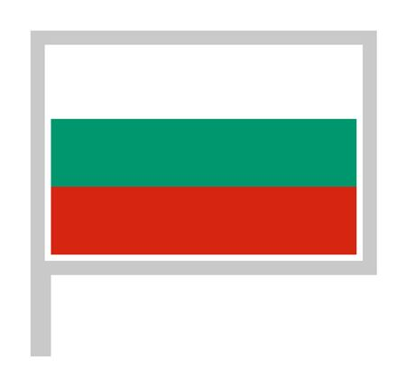 Bulgaria flag on flagpole, rectangular shape icon on white background, vector illustration.