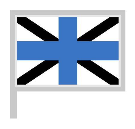 Estonia Naval Jack flag on flagpole, rectangular shape icon on white background, vector illustration.