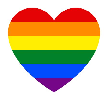 LGBT pride flag, in heart shape icon on white background, vector illustration  イラスト・ベクター素材