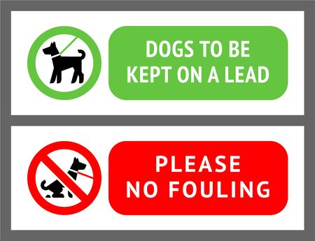No dog fouling, or dogs kept on a lead, vector illustration