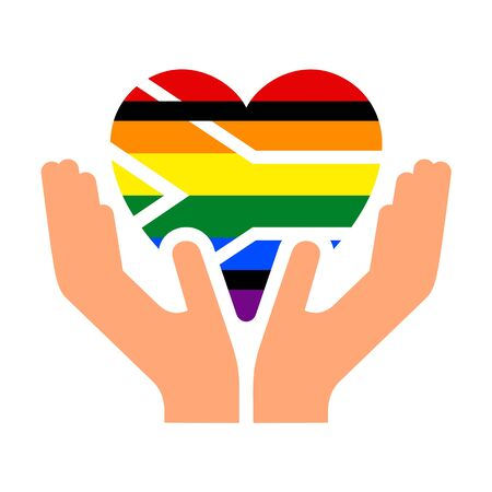 South Africa pride flag, in heart shape icon on white background, vector illustration