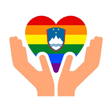 Slovenian LGBT pride flag, in heart shape icon on white background, vector illustration  イラスト・ベクター素材