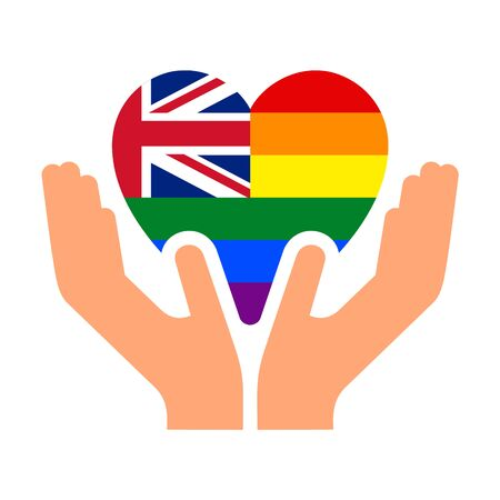 United Kingdom LGBT pride flag, in heart shape icon on white background, vector illustration  イラスト・ベクター素材