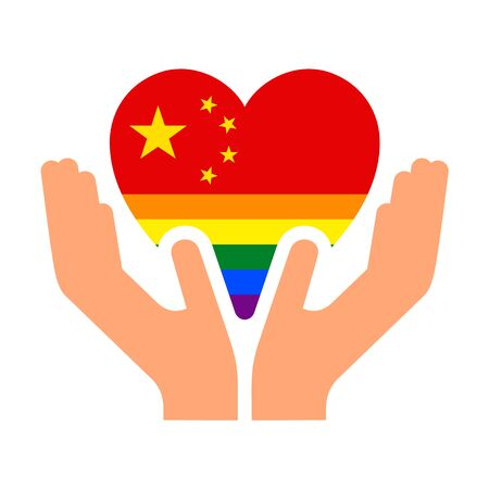 Chinese pride flag, in heart shape icon on white background, vector illustration