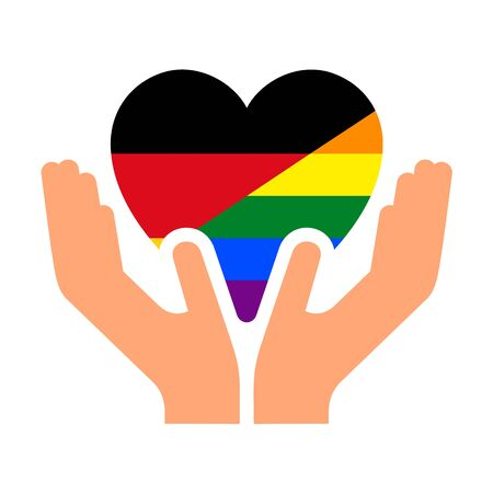 German pride flag, in heart shape icon on white background, vector illustration
