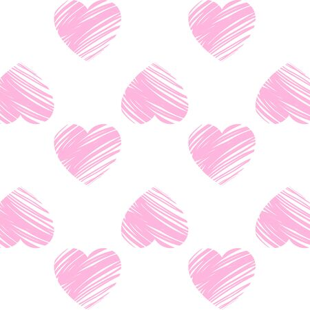 Valentine's day. Pattern with pink hearts, simple vector design element