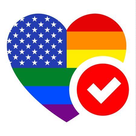 United States LGBT flag in heart shape, vector illustration for your design