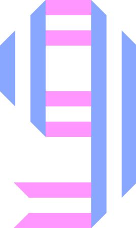Trendy font, alphabet from paper tape, number Nine folded from two stripes