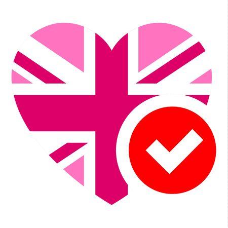 Pink Jack flag in heart shape, vector illustration for your design Illustration