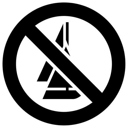No sailing forbidden sign, modern round sticker, vector illustration for your design
