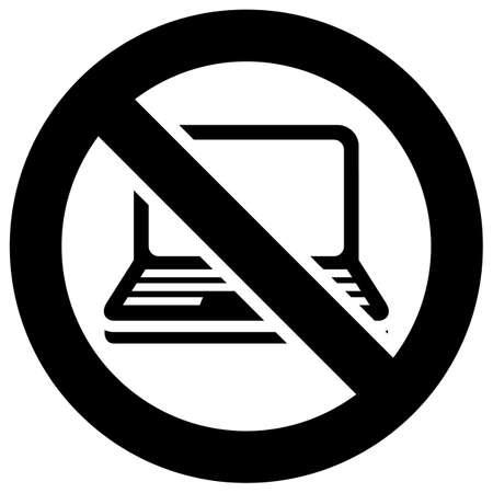 Not use Laptop forbidden sign, modern round sticker