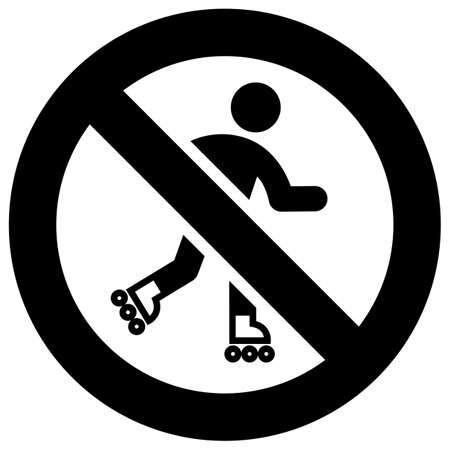 No roller skating forbidden sign, modern round sticker