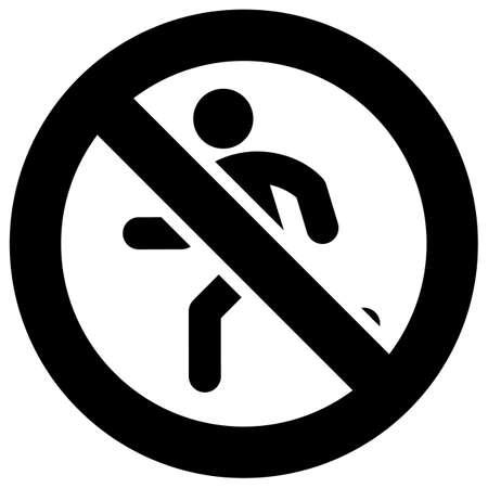 No running forbidden sign, modern round sticker