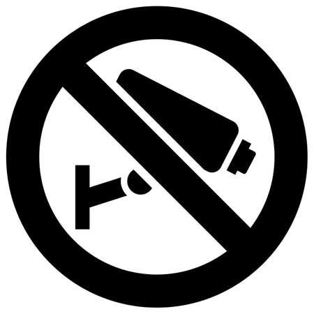 No camera surveillance forbidden sign, modern round sticker