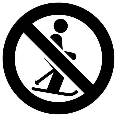 No skiing forbidden sign, modern round sticker Ilustração Vetorial