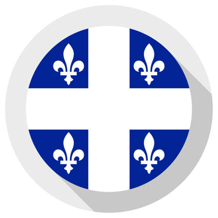 Flag of quebec, round shape icon on white background, vector illustration