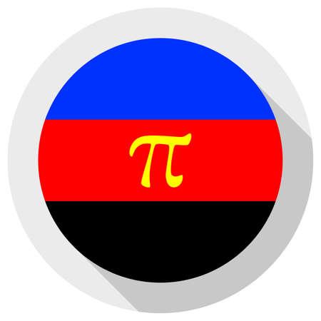 Polyamory flag, round shape icon on white background