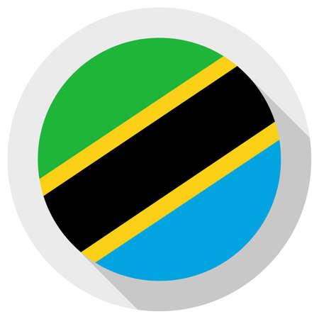 Flag of Tanzania, round shape icon on white background, vector illustration