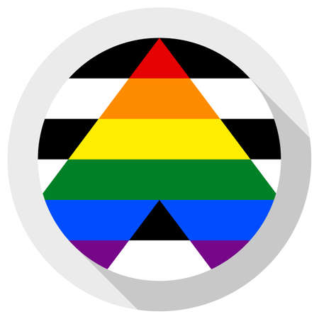 Straight Ally Flag,, round shape icon on white background