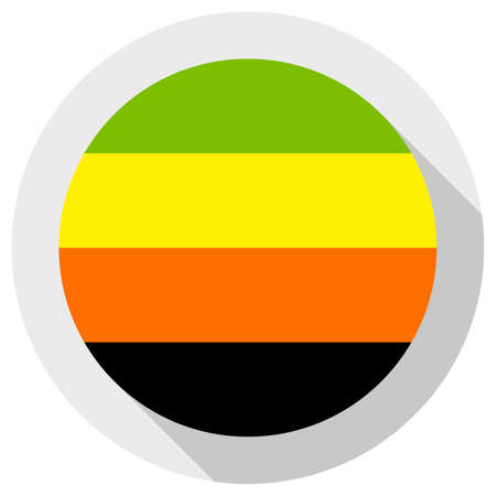 Aromantic pride flag, round shape icon on white background