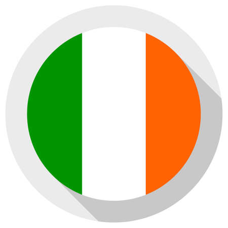 Flag of Ireland, round shape icon on white background, vector illustration