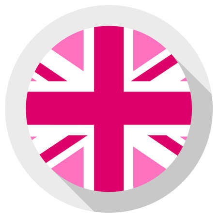 Pink Jack flag - LGBT pride community flag of Great Britain, round shape icon on white background