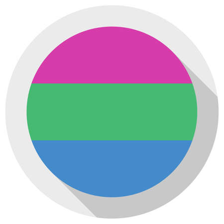 Polysexual pride flag, round shape icon on white background