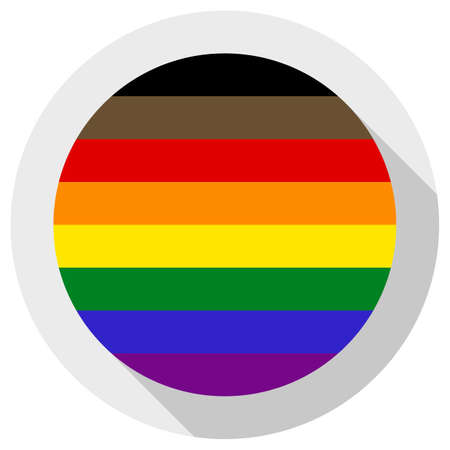 Philadelphia pride flag or LGBTQ pride flag, round shape icon on white background