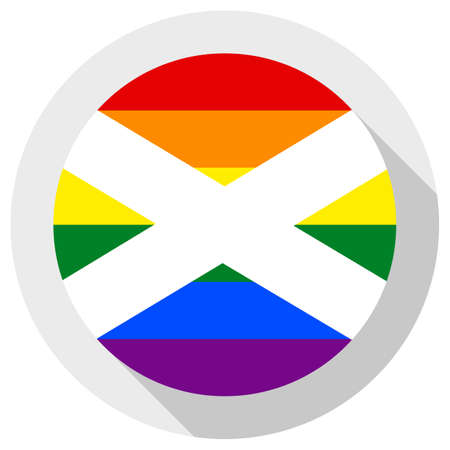 scottish LGBT flag, round shape icon on white background Ilustração