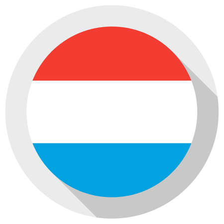 Flag of luxembourg, round shape icon on white background, vector illustration