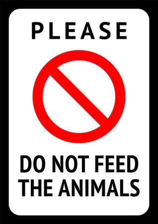 Do not feed the animals, modern forbidding sticker, vector illustration 10eps