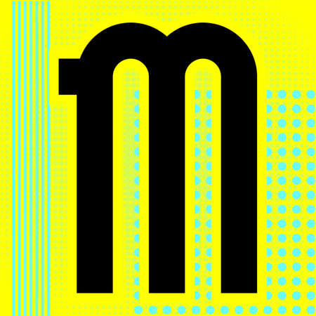 Modern font. Trendy alphabet, black vector letter M on a bright background.