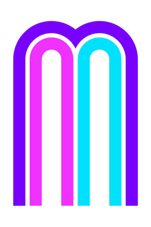 Trendy Font. New Alphabet, colorful letter M