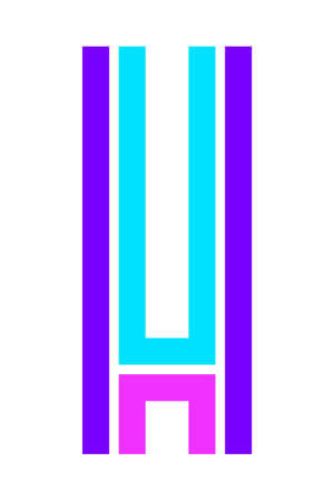 Trendy Font. New Alphabet, colorful letter H