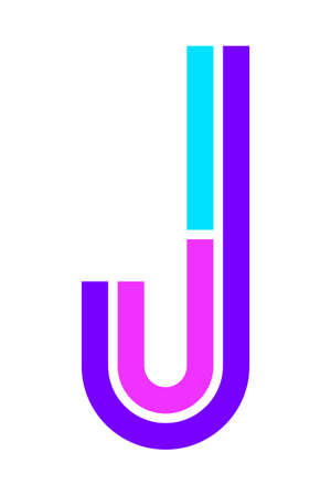Trendy Font. New Alphabet, colorful letter J
