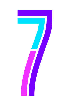 Trendy Font. New Alphabet, colorful number seven
